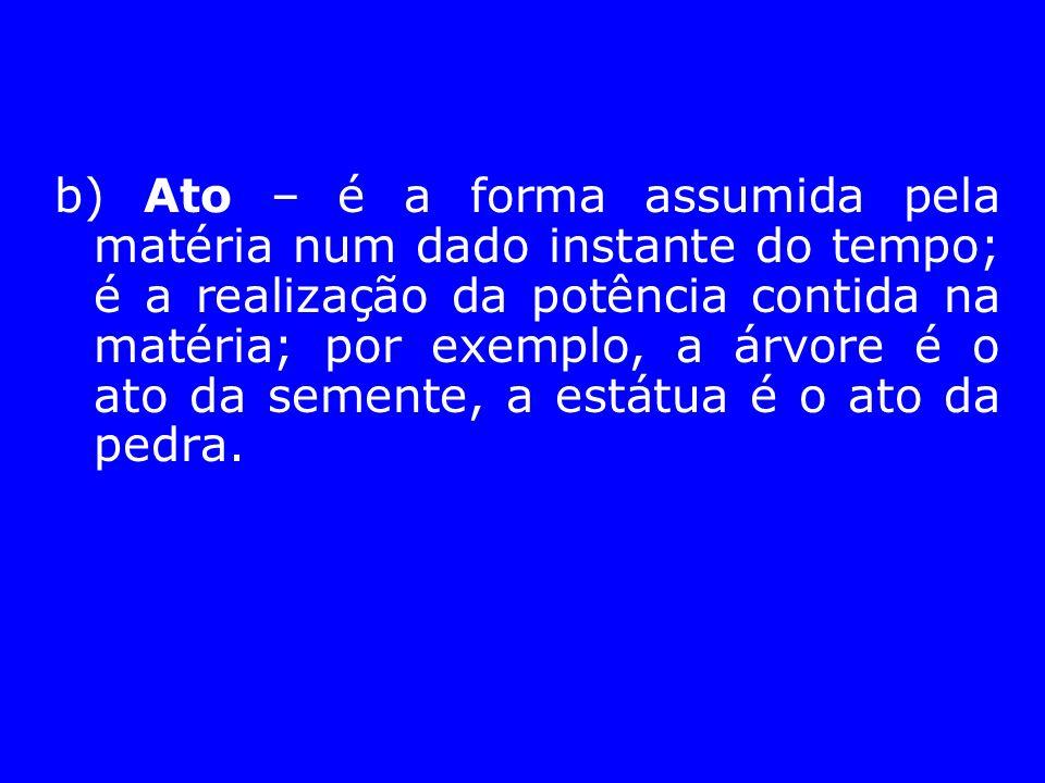 b) Ato – é a forma assumida pela matéria num dado instante do tempo; é a realização da potência contida na matéria; por exemplo, a árvore é o ato da s