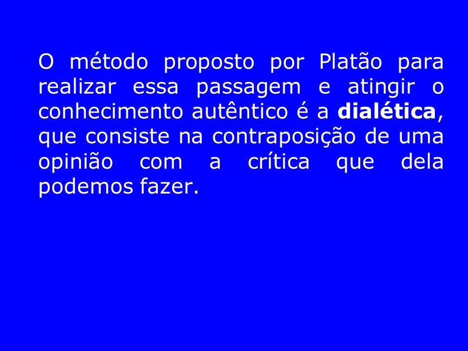 O método proposto por Platão para realizar essa passagem e atingir o conhecimento autêntico é a dialética, que consiste na contraposição de uma opiniã
