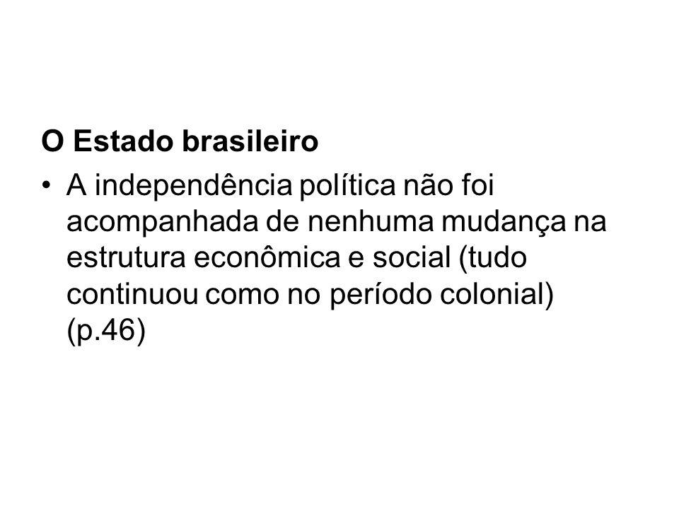 O Estado brasileiro A independência política não foi acompanhada de nenhuma mudança na estrutura econômica e social (tudo continuou como no período co