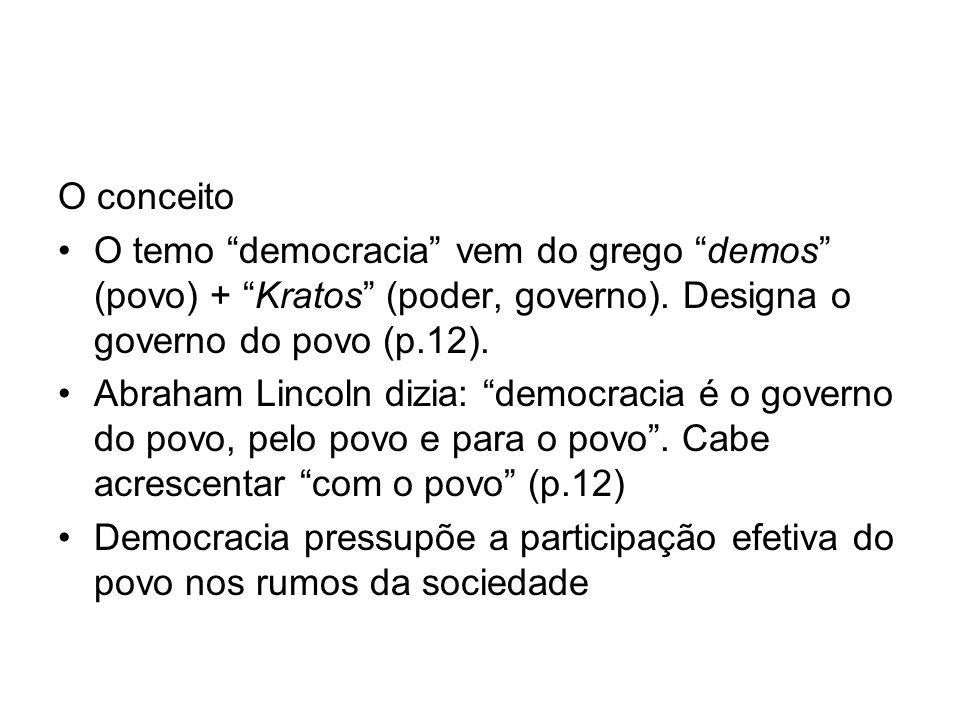 O conceito O temo democracia vem do grego demos (povo) + Kratos (poder, governo). Designa o governo do povo (p.12). Abraham Lincoln dizia: democracia