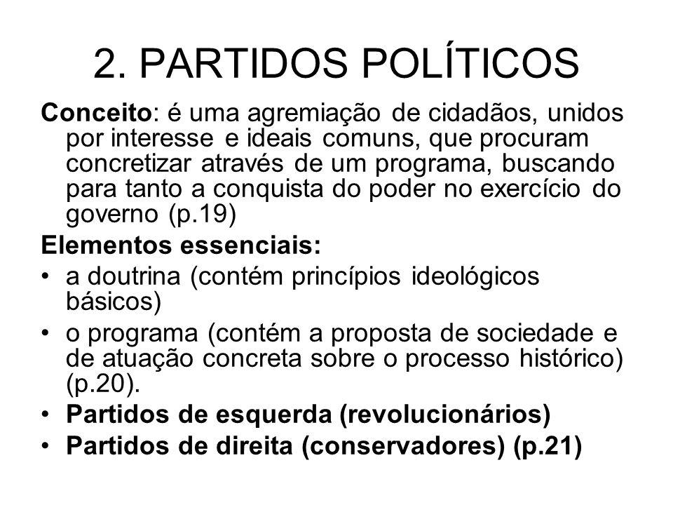 2. PARTIDOS POLÍTICOS Conceito: é uma agremiação de cidadãos, unidos por interesse e ideais comuns, que procuram concretizar através de um programa, b