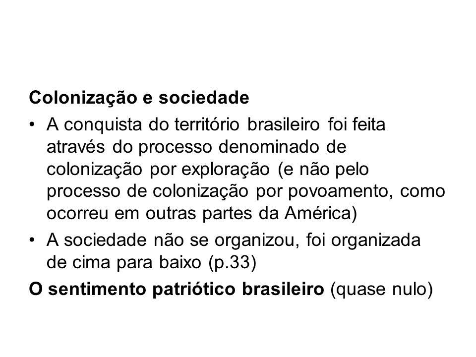 Colonização e sociedade A conquista do território brasileiro foi feita através do processo denominado de colonização por exploração (e não pelo proces
