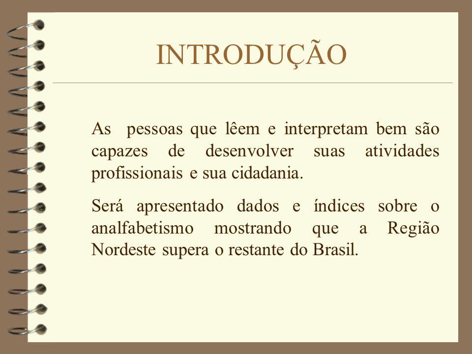 OBJETIVOS 4 Reconhecer a importância do ato de ler e interpretar na vida das pessoas 4 Apresentar dados relativos ao analfabetismo no Brasil e no Mund