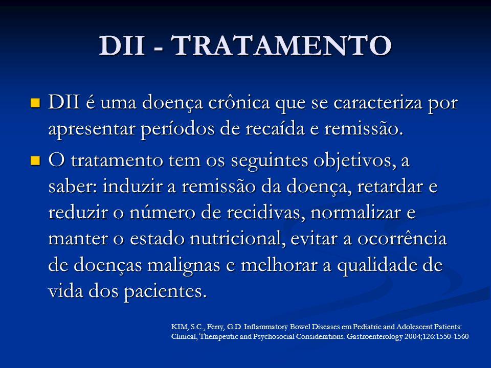 DII - TRATAMENTO DII é uma doença crônica que se caracteriza por apresentar períodos de recaída e remissão. DII é uma doença crônica que se caracteriz