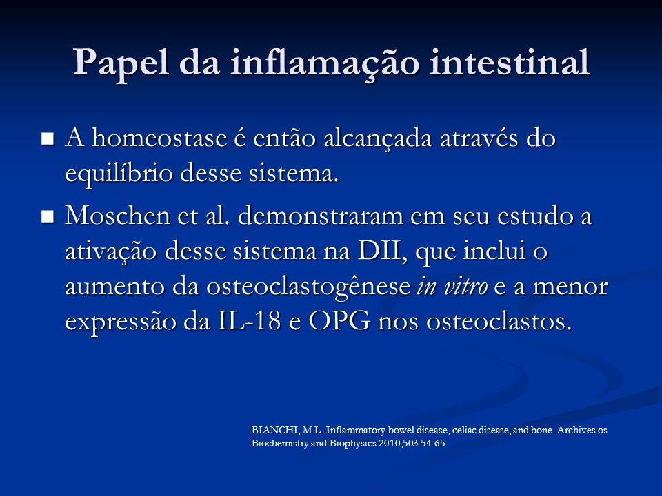 Papel da inflamação intestinal A homeostase é então alcançada através do equilíbrio desse sistema. A homeostase é então alcançada através do equilíbri