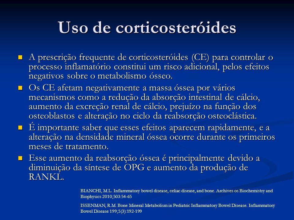 Uso de corticosteróides A prescrição frequente de corticosteróides (CE) para controlar o processo inflamatório constitui um risco adicional, pelos efe