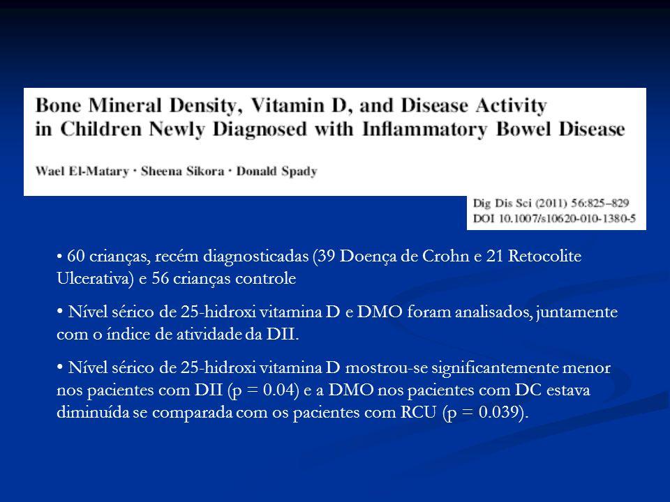 60 crianças, recém diagnosticadas (39 Doença de Crohn e 21 Retocolite Ulcerativa) e 56 crianças controle Nível sérico de 25-hidroxi vitamina D e DMO f