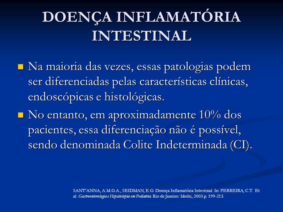 DOENÇA INFLAMATÓRIA INTESTINAL Na maioria das vezes, essas patologias podem ser diferenciadas pelas características clínicas, endoscópicas e histológi