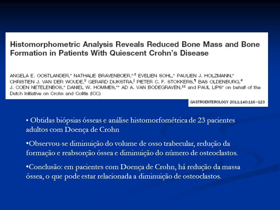 Obtidas biópsias ósseas e análise histomorfométrica de 23 pacientes adultos com Doença de Crohn Observou-se diminuição do volume de osso trabecular, r