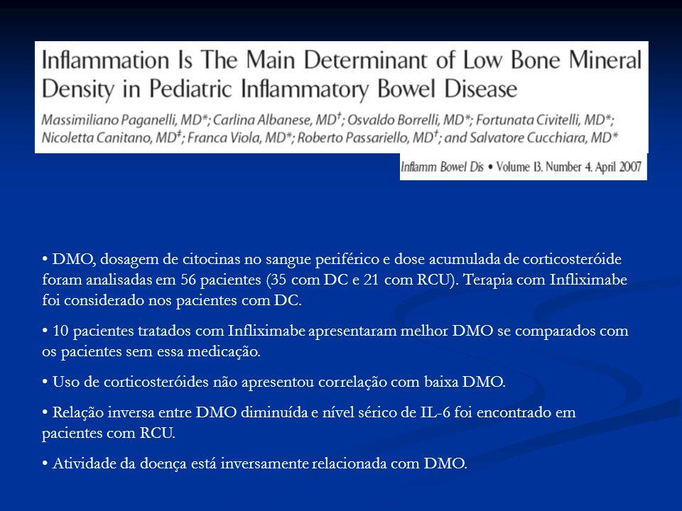 DMO, dosagem de citocinas no sangue periférico e dose acumulada de corticosteróide foram analisadas em 56 pacientes (35 com DC e 21 com RCU). Terapia