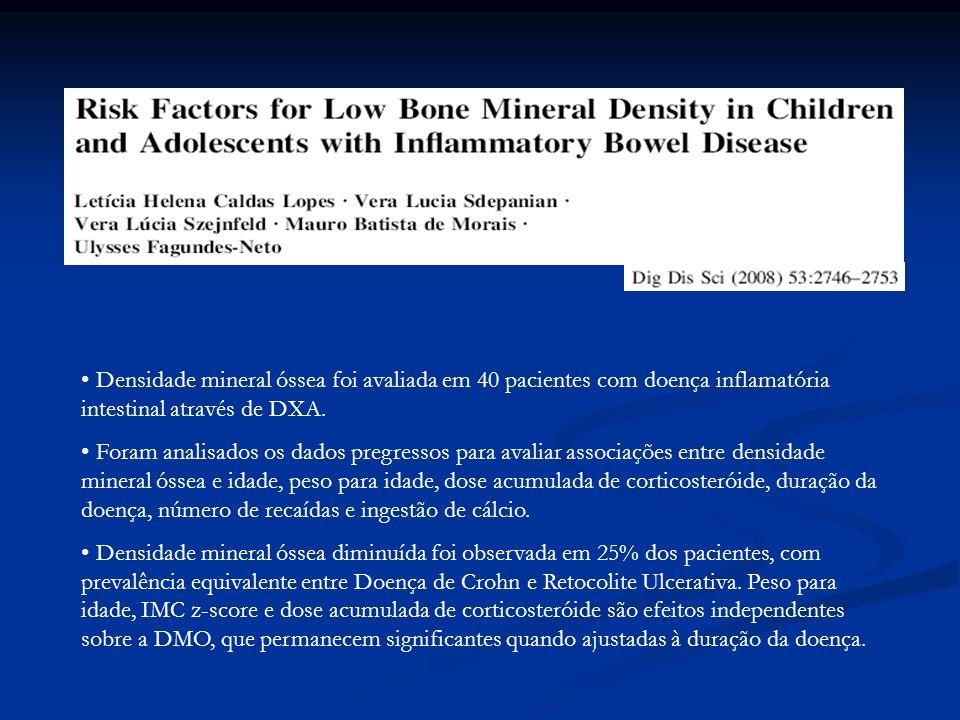 Densidade mineral óssea foi avaliada em 40 pacientes com doença inflamatória intestinal através de DXA. Foram analisados os dados pregressos para aval