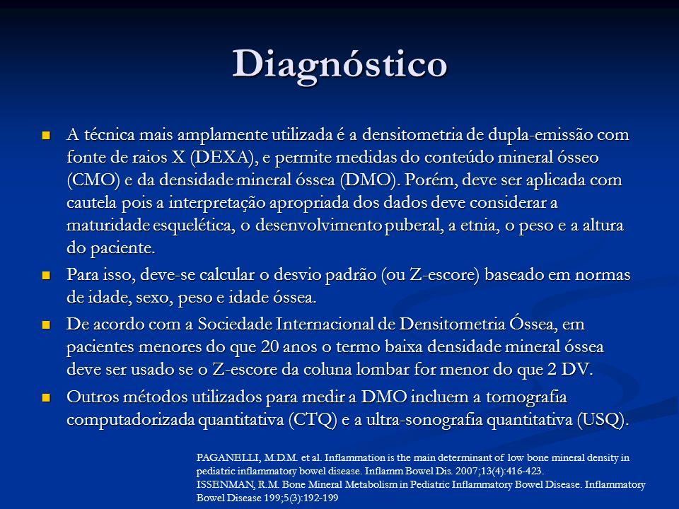 Diagnóstico A técnica mais amplamente utilizada é a densitometria de dupla-emissão com fonte de raios X (DEXA), e permite medidas do conteúdo mineral