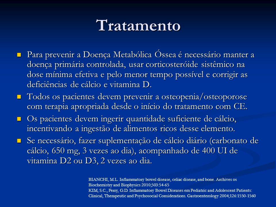 Tratamento Para prevenir a Doença Metabólica Óssea é necessário manter a doença primária controlada, usar corticosteróide sistêmico na dose mínima efe