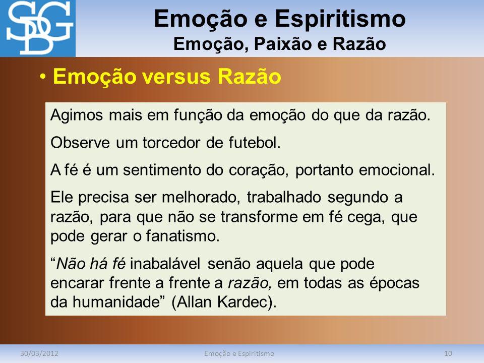 Emoção e Espiritismo Emoção, Paixão e Razão 30/03/2012Emoção e Espiritismo10 Agimos mais em função da emoção do que da razão. Observe um torcedor de f