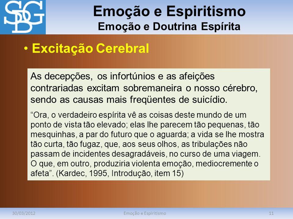 Emoção e Espiritismo Emoção e Doutrina Espírita 30/03/2012Emoção e Espiritismo11 As decepções, os infortúnios e as afeições contrariadas excitam sobre
