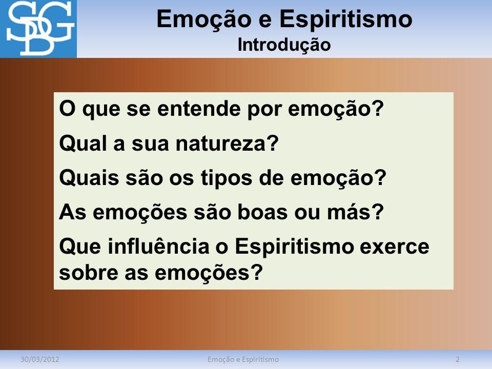 Emoção e Espiritismo Introdução 30/03/2012Emoção e Espiritismo2 O que se entende por emoção? Qual a sua natureza? Quais são os tipos de emoção? As emo