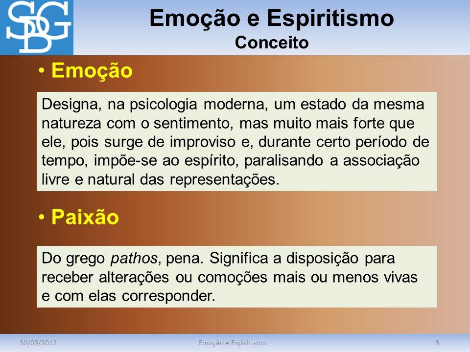 Emoção e Espiritismo Conceito 30/03/2012Emoção e Espiritismo3 Designa, na psicologia moderna, um estado da mesma natureza com o sentimento, mas muito