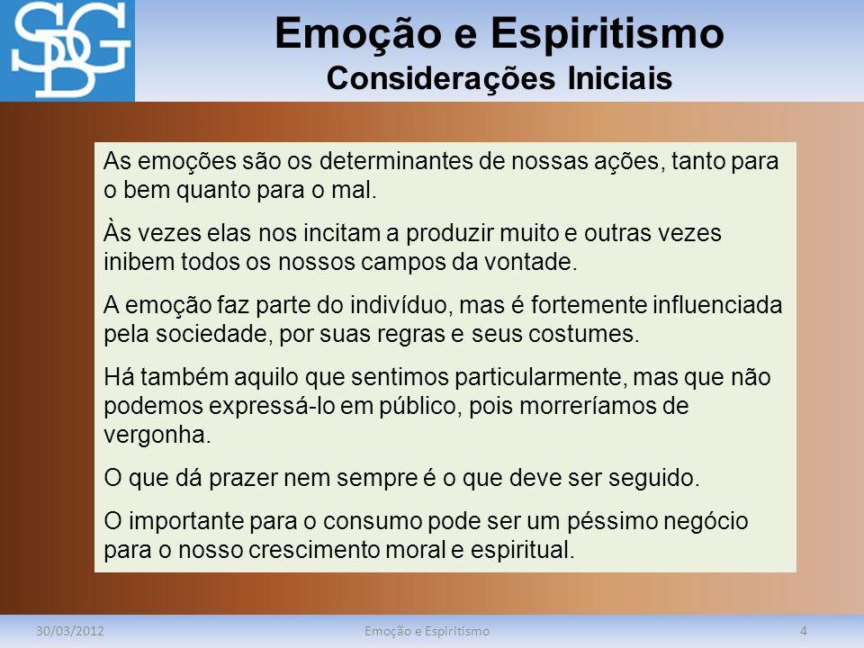 Emoção e Espiritismo Considerações Iniciais 30/03/2012Emoção e Espiritismo4 As emoções são os determinantes de nossas ações, tanto para o bem quanto p