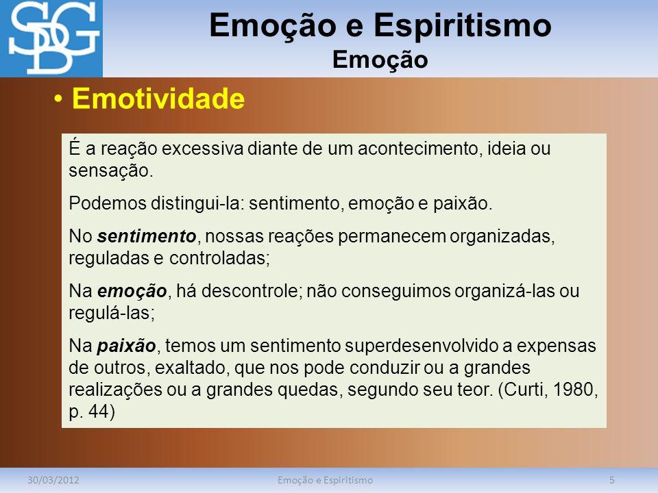 Emoção e Espiritismo Emoção 30/03/2012Emoção e Espiritismo5 É a reação excessiva diante de um acontecimento, ideia ou sensação. Podemos distingui-la: