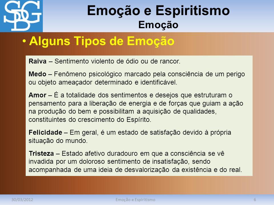 Emoção e Espiritismo Emoção 30/03/2012Emoção e Espiritismo7 Há, no indivíduo, uma acepção interna e particular, que se distingue da sua apresentação pública.