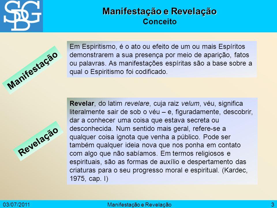 03/07/2011Manifestação e Revelação4 Considerações Iniciais A manifestação mediúnica sempre existiu; a revelação, também.
