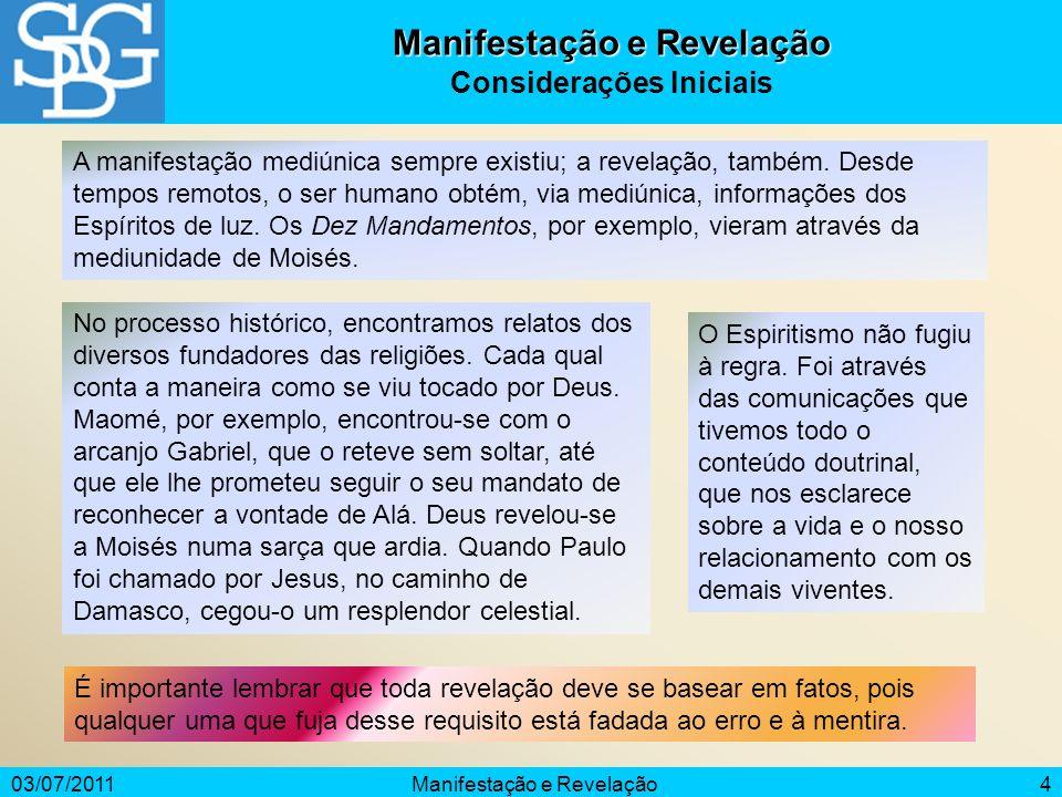 03/07/2011Manifestação e Revelação4 Considerações Iniciais A manifestação mediúnica sempre existiu; a revelação, também. Desde tempos remotos, o ser h