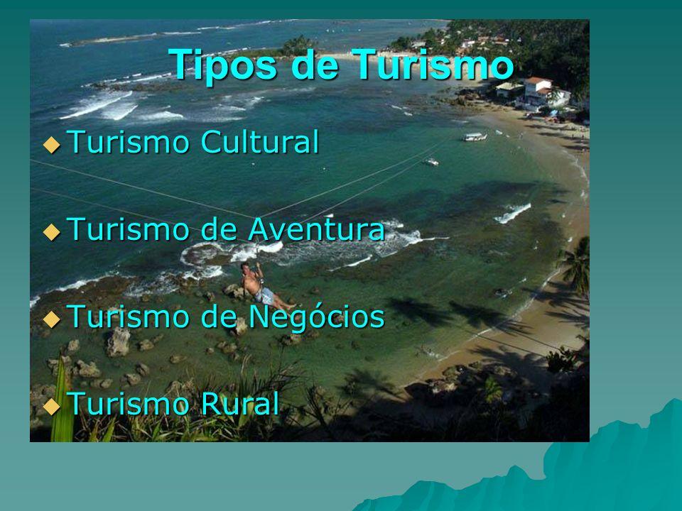 Tipos de Turismo Turismo Cultural Turismo Cultural Turismo de Aventura Turismo de Aventura Turismo de Negócios Turismo de Negócios Turismo Rural Turis