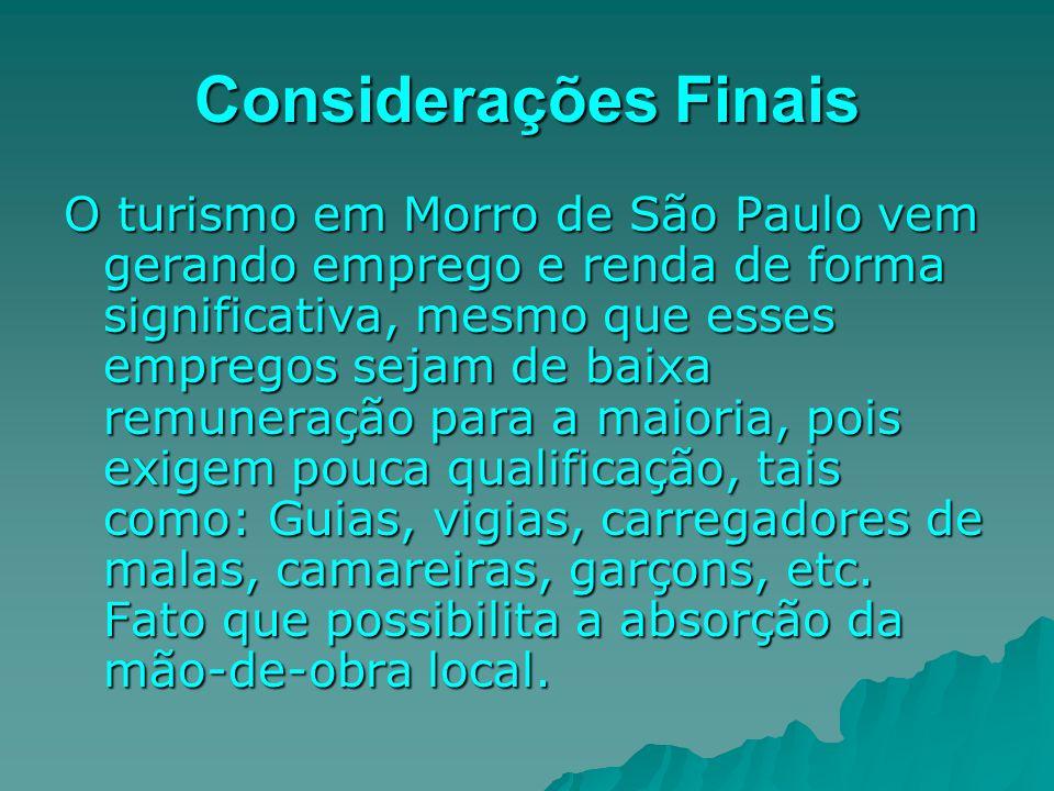 Considerações Finais O turismo em Morro de São Paulo vem gerando emprego e renda de forma significativa, mesmo que esses empregos sejam de baixa remun