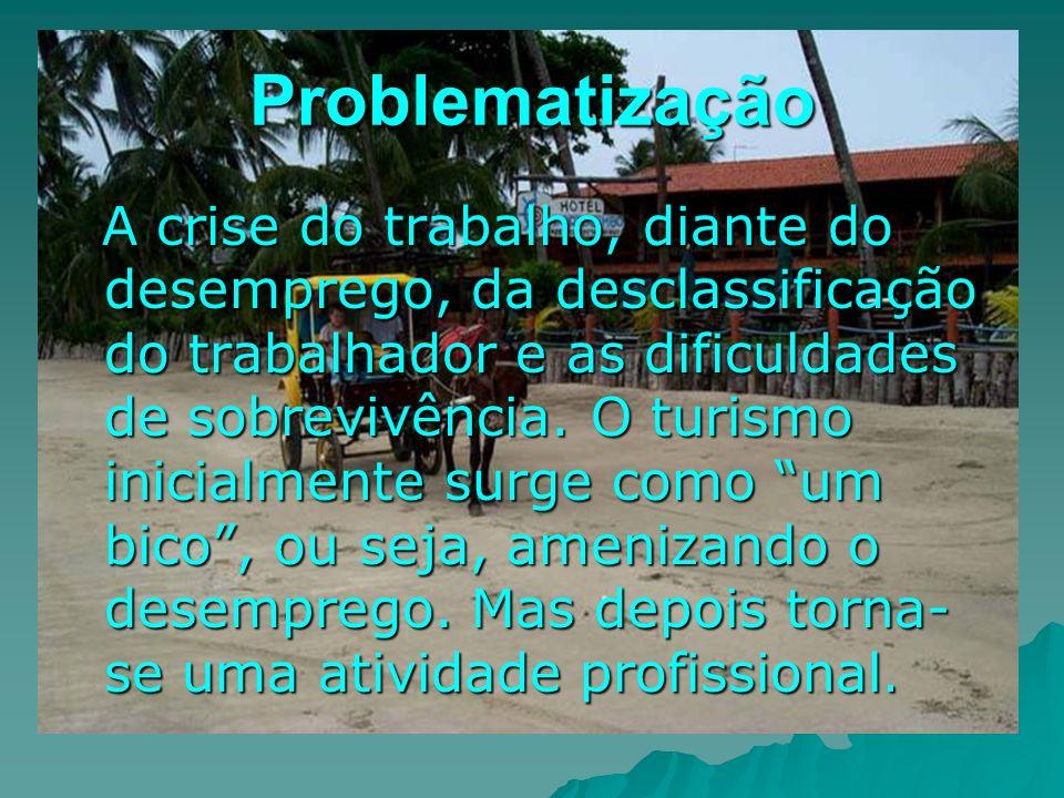 Problematização A crise do trabalho, diante do desemprego, da desclassificação do trabalhador e as dificuldades de sobrevivência. O turismo inicialmen