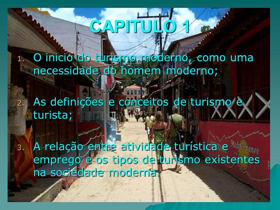 CAPITULO 1 1. O inicio do turismo moderno, como uma necessidade do homem moderno; 2. As definições e conceitos de turismo e turista; 3. A relação entr
