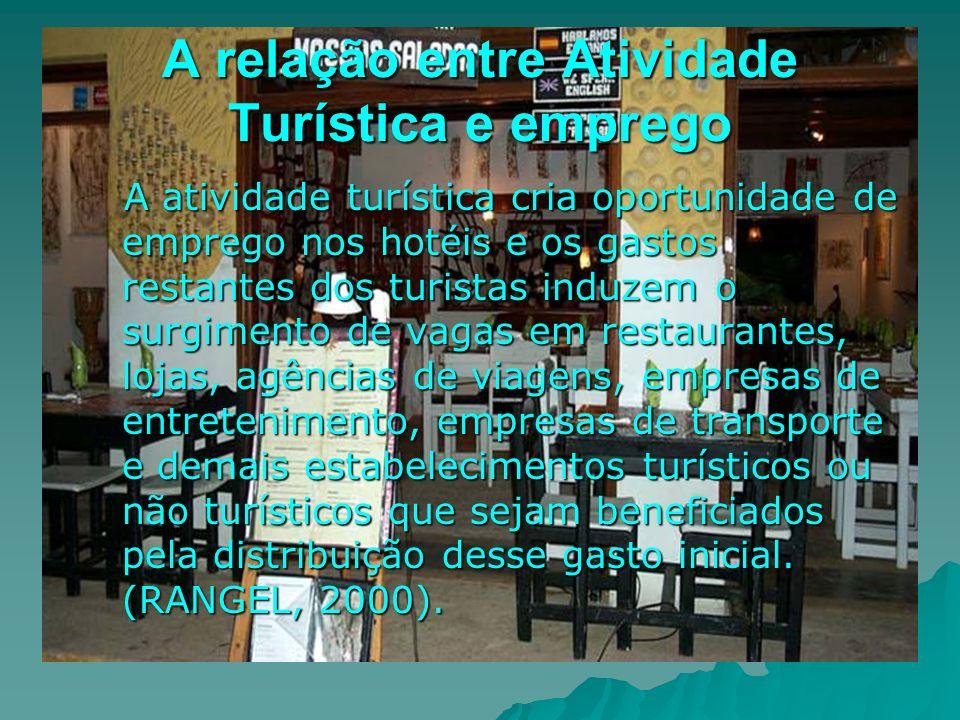 A relação entre Atividade Turística e emprego A atividade turística cria oportunidade de emprego nos hotéis e os gastos restantes dos turistas induzem