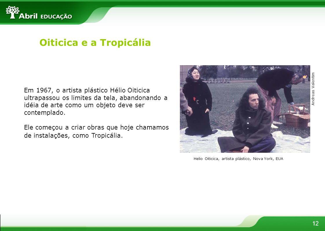 Oiticica e a Tropicália Em 1967, o artista plástico Hélio Oiticica ultrapassou os limites da tela, abandonando a idéia de arte como um objeto deve ser