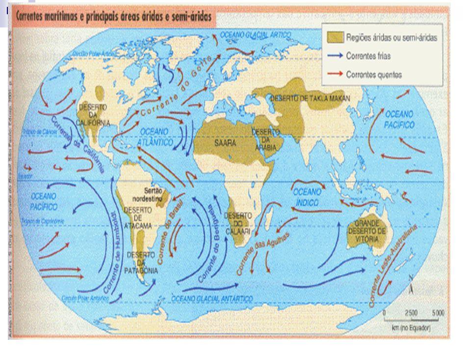 As principais correntes marinhas do mundo são: a corrente do golfo, que se move no sentido sul-norte pela costa oeste dos EUA e depois pela Europa, a corrente do Brasil, que se move no sentido sul-norte pela costa brasileira, a corrente de Humbolt, que se move pelo oceano pacífico e, que está relacionada com o acontecimento do efeito El-Ninõ, e a corrente de Benguela, que se move no sentido oeste-leste na direção do Oceano Índico.