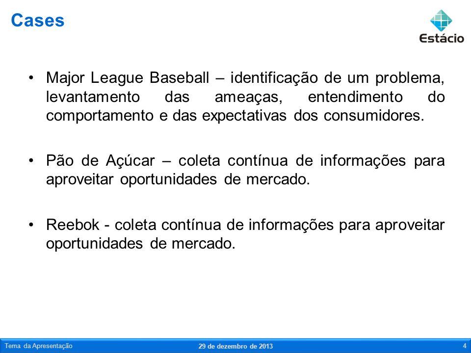 Major League Baseball – identificação de um problema, levantamento das ameaças, entendimento do comportamento e das expectativas dos consumidores. Pão