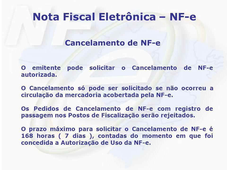 Nota Fiscal Eletrônica – NF-e Cancelamento de NF-e O emitente pode solicitar o Cancelamento de NF-e autorizada. O Cancelamento só pode ser solicitado