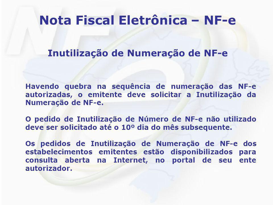 Nota Fiscal Eletrônica – NF-e Inutilização de Numeração de NF-e Havendo quebra na sequência de numeração das NF-e autorizadas, o emitente deve solicit
