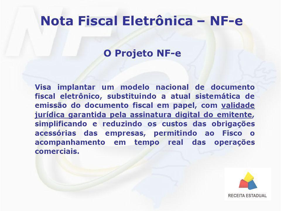 Nota Fiscal Eletrônica – NF-e O Projeto NF-e Visa implantar um modelo nacional de documento fiscal eletrônico, substituindo a atual sistemática de emi