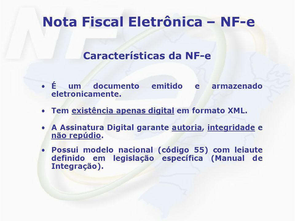 Nota Fiscal Eletrônica – NF-e Características da NF-e É um documento emitido e armazenado eletronicamente. Tem existência apenas digital em formato XM