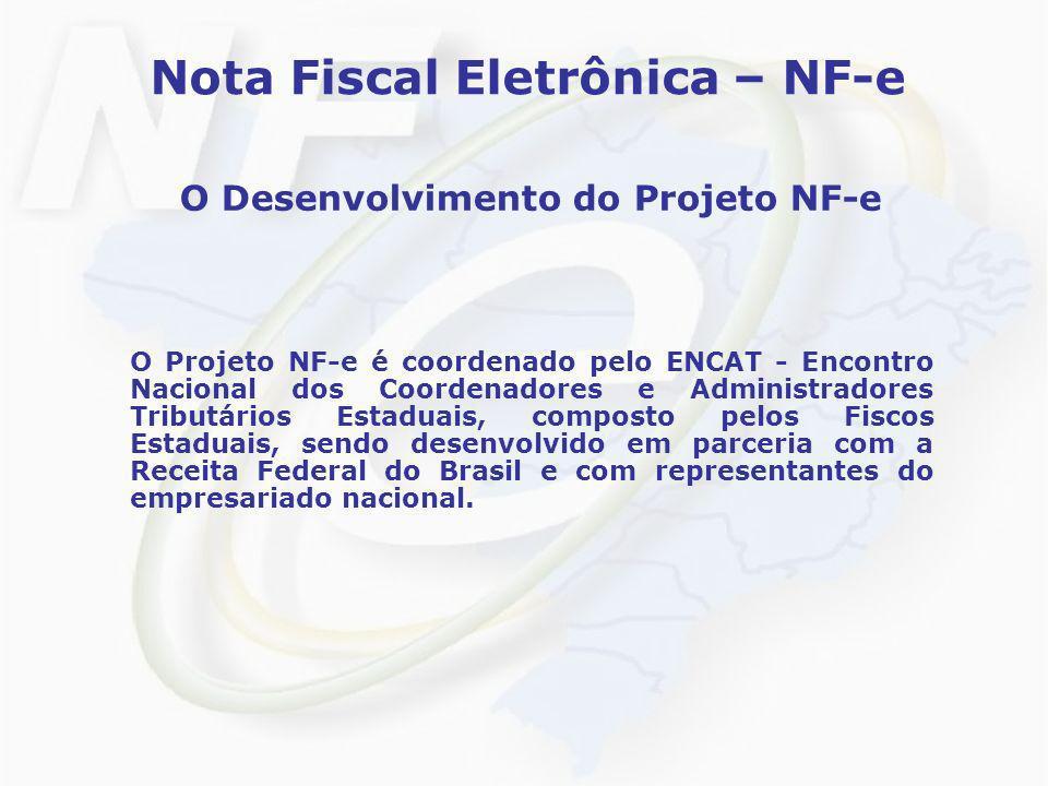 Nota Fiscal Eletrônica – NF-e O Desenvolvimento do Projeto NF-e O Projeto NF-e é coordenado pelo ENCAT - Encontro Nacional dos Coordenadores e Adminis
