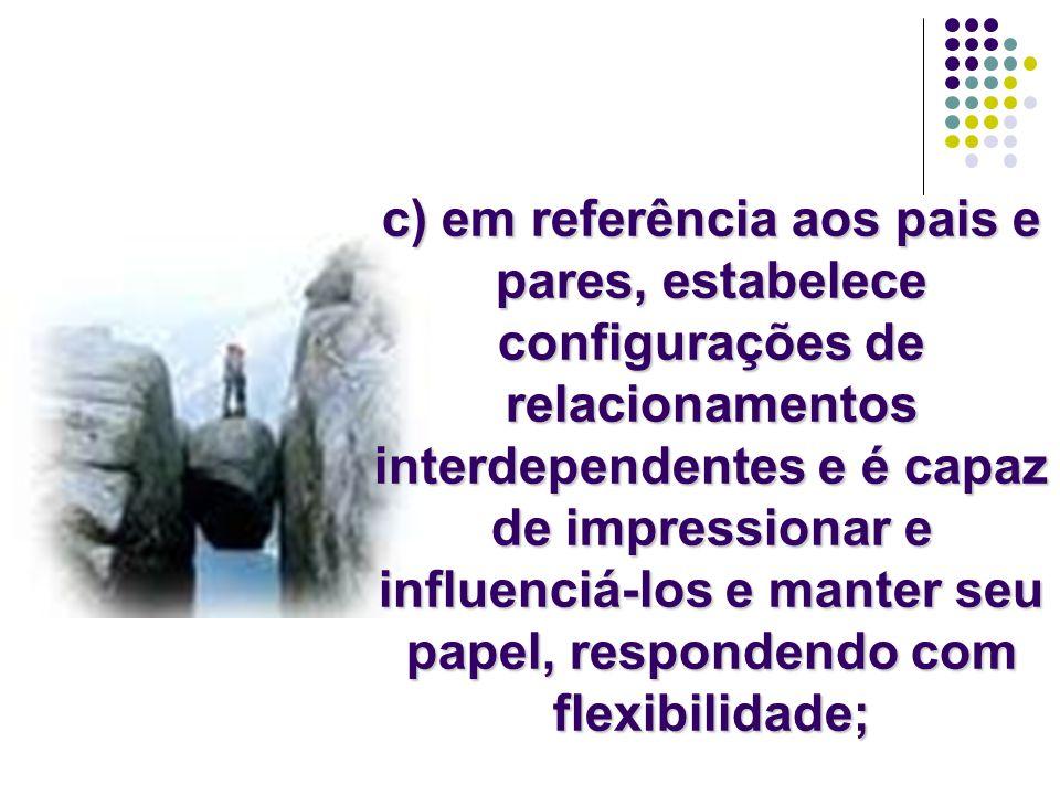 c) em referência aos pais e pares, estabelece configurações de relacionamentos interdependentes e é capaz de impressionar e influenciá-los e manter se