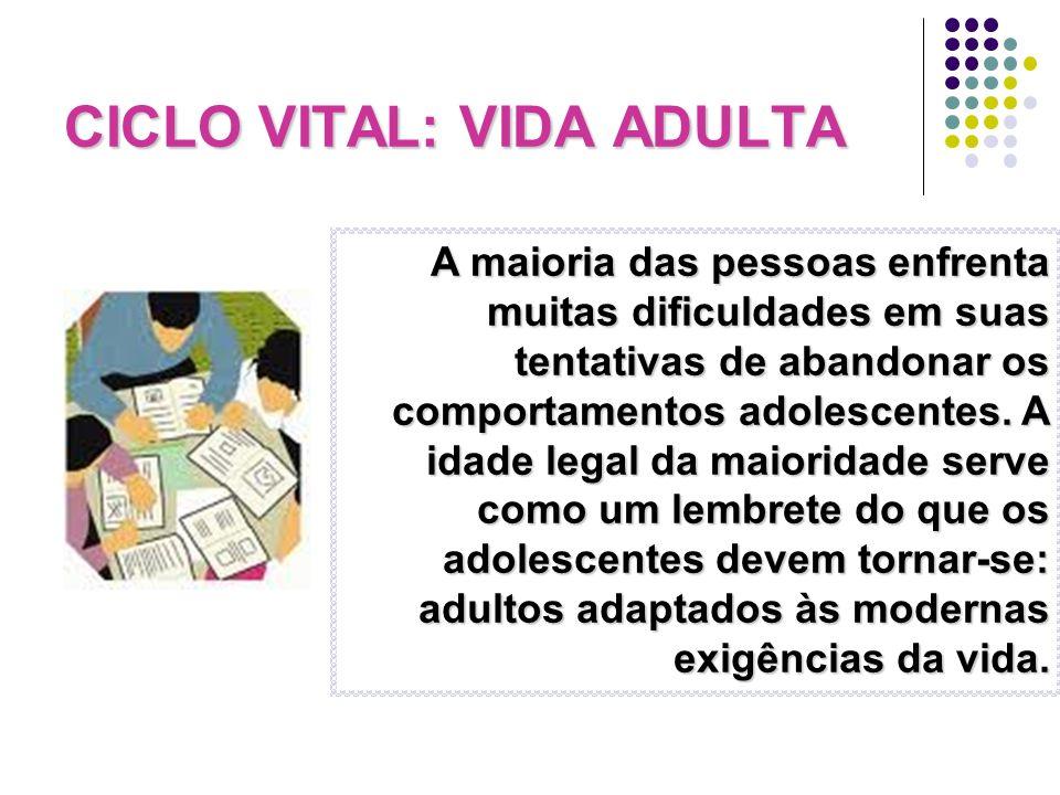 CICLO VITAL: VIDA ADULTA A maioria das pessoas enfrenta muitas dificuldades em suas tentativas de abandonar os comportamentos adolescentes. A idade le