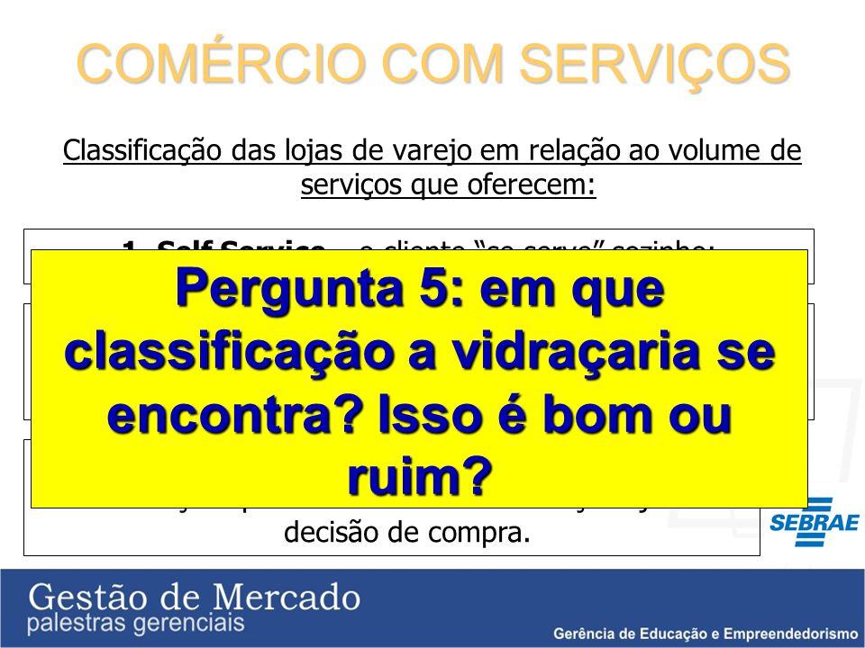 COMÉRCIO COM SERVIÇOS Classificação das lojas de varejo em relação ao volume de serviços que oferecem: 1. Self Service – o cliente se serve sozinho; 2