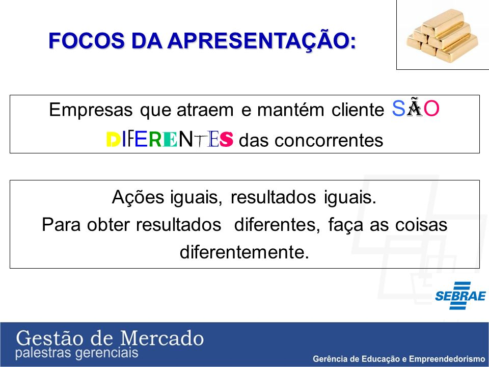 FOCOS DA APRESENTAÇÃO: Empresas que atraem e mantém cliente S Ã O D I F E R E N T E S das concorrentes Ações iguais, resultados iguais. Para obter res