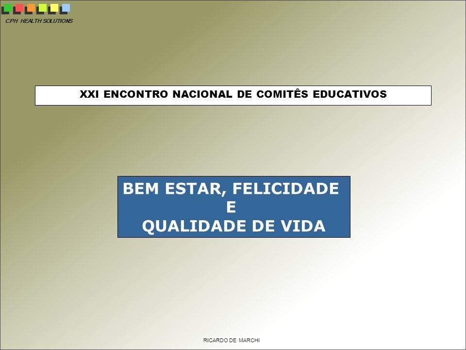 CPH HEALTH SOLUTIONS RICARDO DE MARCHI XXI ENCONTRO NACIONAL DE COMITÊS EDUCATIVOS BEM ESTAR, FELICIDADE E QUALIDADE DE VIDA
