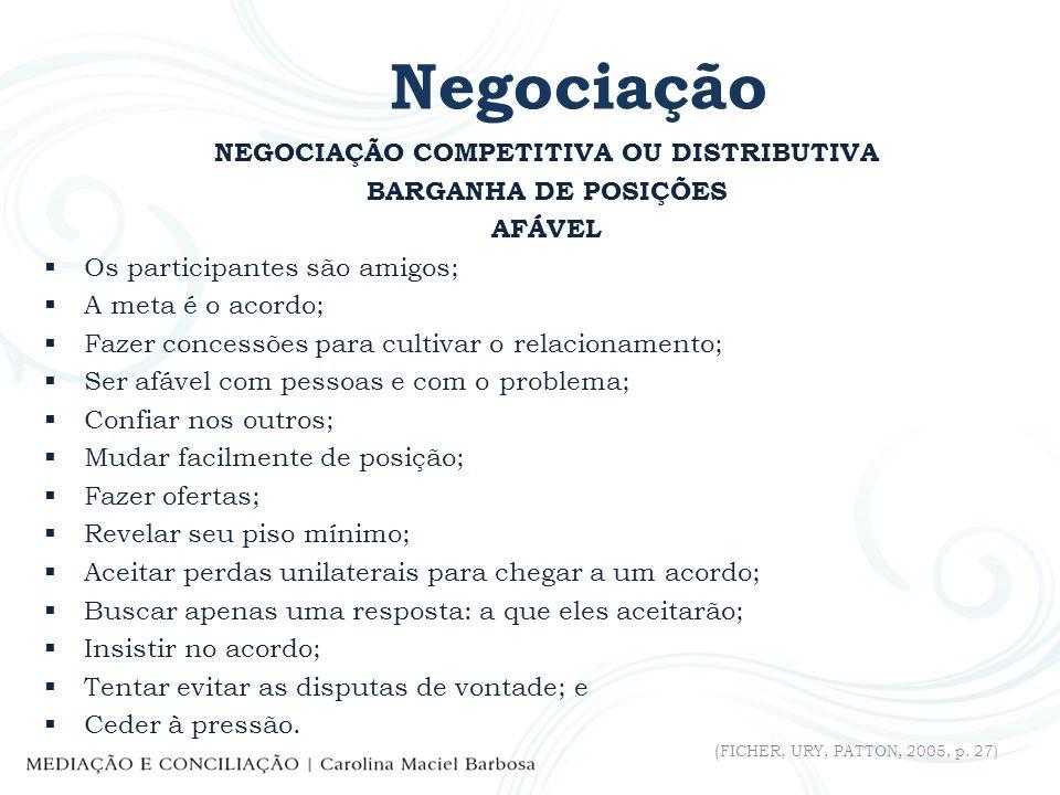 Negociação NEGOCIAÇÃO COMPETITIVA OU DISTRIBUTIVA BARGANHA DE POSIÇÕES AFÁVEL Os participantes são amigos; A meta é o acordo; Fazer concessões para cu