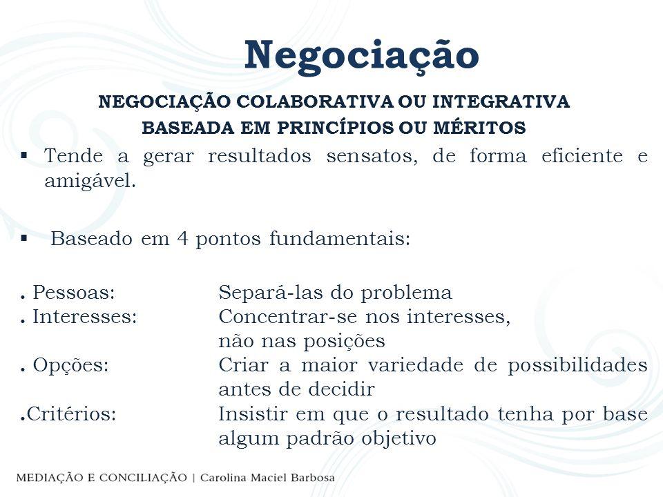 Negociação NEGOCIAÇÃO COLABORATIVA OU INTEGRATIVA BASEADA EM PRINCÍPIOS OU MÉRITOS Tende a gerar resultados sensatos, de forma eficiente e amigável. B