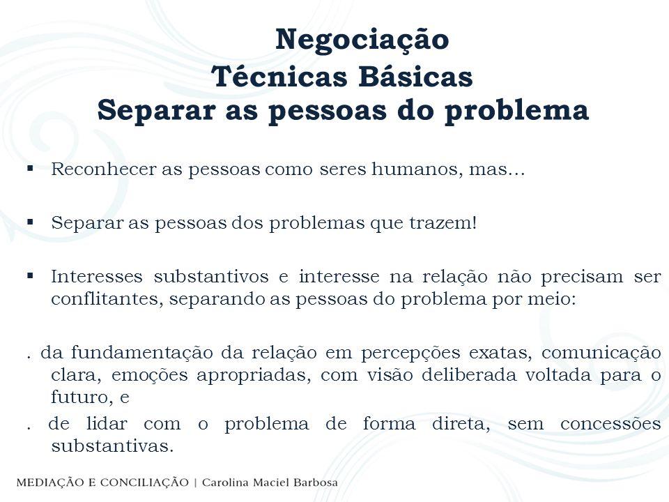 Negociação Técnicas Básicas Separar as pessoas do problema Reconhecer as pessoas como seres humanos, mas... Separar as pessoas dos problemas que traze