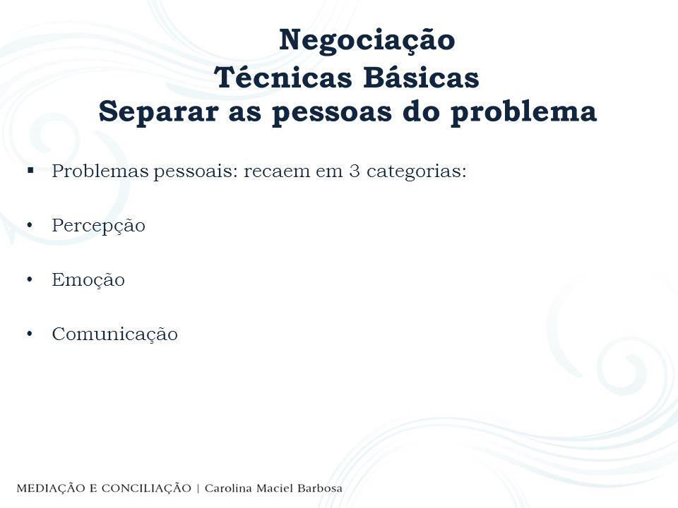 Negociação Técnicas Básicas Separar as pessoas do problema Problemas pessoais: recaem em 3 categorias: Percepção Emoção Comunicação