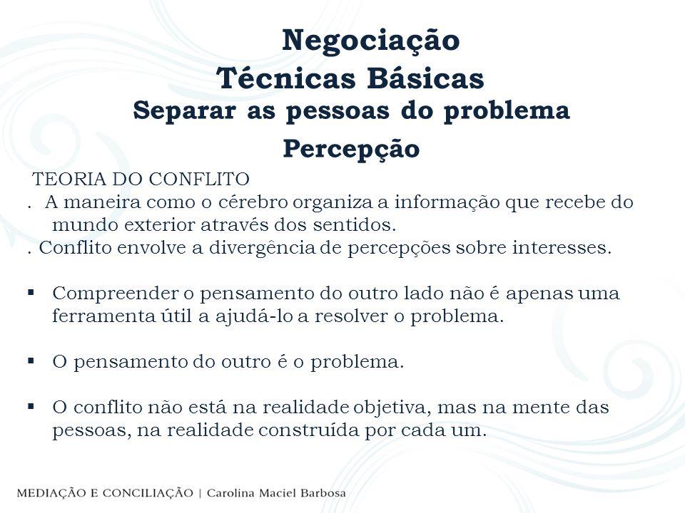 Negociação Técnicas Básicas Separar as pessoas do problema Percepção TEORIA DO CONFLITO. A maneira como o cérebro organiza a informação que recebe do