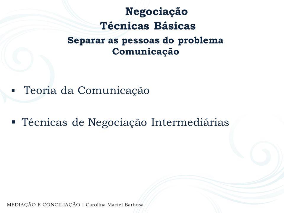Negociação Técnicas Básicas Separar as pessoas do problema Comunicação Teoria da Comunicação Técnicas de Negociação Intermediárias